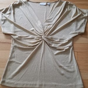 NY&Co Gold Shimmer Ruched Top-Large